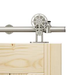 DIYHD 5/6/8 / 10ft Spoke gancio gancio in acciaio inox montato singolo / doppio fienile scorrevole in legno porta hardware da