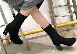 2019 meias senhoras de qualidade 2018 Top Marca Mulheres Ankle Boots 10 CM Específico-em forma de Salto de Malha Meia Botas de Alta Qualidade Lady Festa À Noite Sexy Botas Com Caixa Original meias senhoras de qualidade barato
