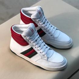 2019 haut cuir Luxe Ace Striple Signature Haut Baskets Pour Hommes De Mode Designer Chaussures Doux Patchwork Imprimer En Cuir Baskets Plates avec Boîte haut cuir pas cher