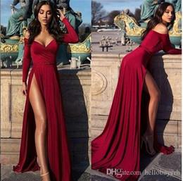 vestido de noite abiti Desconto 2019 Sexy Bainha Fora Do Ombro Manga Longa Vestidos de Baile Longa Dividir Frente Abiti da sera Africano Vestido de Festa À Noite Vestido