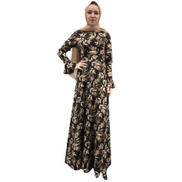 Одежда дубай онлайн-print caftan marocain dubai abaya femme long Maxi Dress Robe Abaya Islamic Flower Dubai Cardigan Ramadan dress muslim#G9+1
