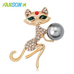 rhinestone brooches for sale Coupons - FANSON 2020 New Factory Direct Sale Plated Crystal Rhinestones Cute Cat Brooch Pins For Women