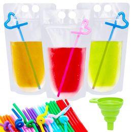 le mani di plastica Sconti Bustine resistenti in plastica trasparente per sigarette Sacchetti di frullato con imbuto di cannucce Imbuto trasparente, sacchetti per bevande glassati