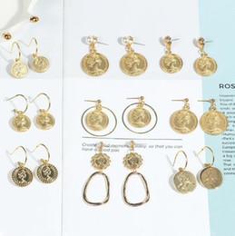 Vintage beauté tête pièce oreille stud géométrique perle pièce pendentif boucles d'oreilles pièce d'or chanceux boucle d'oreille de mode bijoux ? partir de fabricateur