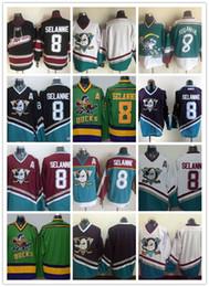 Пустые трикотажные изделия nhl онлайн-Более низкая цена Мужские утки Anaheim # 8 Teemu Selanne Blank 100% Сшитая футболка Хоккея с шайбой Throwback Throwback черный зеленый белый белый красный НХЛ