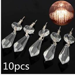 Wholesale 10 pz pacco lampadario perline ottagonali lampada di cristallo pendenti decorazione parti appese illuminazione a sospensione accessori fai da te x1 x1cm