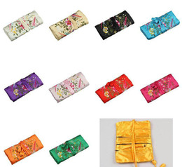jewelry rolls Coupons - Chinese FOLK Floral 3 Zipper Silk Multifunctional Jewelry Gift bags Pouches Bag Ring Bar Silk Embroidery Travel Roll Bag
