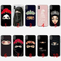 2019 housses d'iphone pour femmes Femme en Hijab Visage Musulman Islamique Gril Yeux Coque en TPU Silicone Souple pour iPhone 5 5S SE 6 6S 7 8 Plus X XR XS Couverture Max promotion housses d'iphone pour femmes