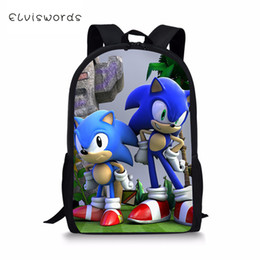silver sonic Coupons - ELVISWORDS Fashion Kids Backpack Sonic Prints Children's School Bookbag Cartoon Pattern Toddler Schoolbags Women Travel Backpack