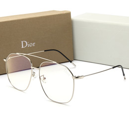 синие зеркальные дизайнерские солнцезащитные очки Скидка New Fashion Designer мужские солнцезащитные очки с плоским зеркалом Роскошные солнцезащитные очки для мужчин, женщин, летних анти-синий свет очки с рамкой с коробкой