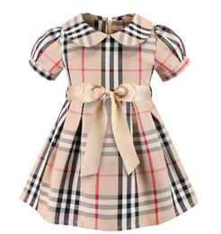 Vestido xadrez 2019Europeu e estilos americanos nova Menina crianças verão bonito boneca gola mangas curtas menina de alta qualidade vestido xadrez de algodão de