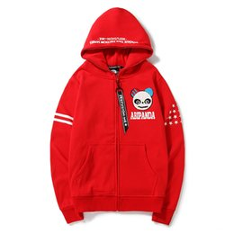 3ffc7be89 Mens white designer hoodie sweatshirt sweat coat cartoon panda print zipper  cardigan youth students loose large size coat tide brand hoodies discount  white ...