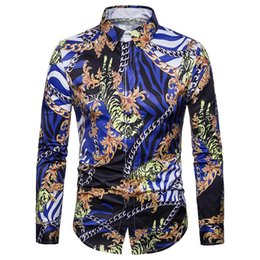 7bc20aa30 Hip Hop Tiger Print Shirt Chain Printed Man Tops Club Boy Casual Shirts  Covered Button Male Slim Blouse 2019 New Men Blusa Brand discount tiger  collar shirt