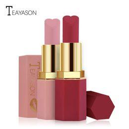 Rossetto opaco rossetto rosa fagiolo pompelmo rosso di lunga durata plum color morso trucco labbra rossetto esagonale a forma di cuore da