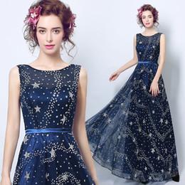 Elegnat mujeres lentejuelas vestidos de baile una línea estrellas 2019 longitud del piso largo azul marino maxi mujeres formales de noche vestido de fiesta barato desde fabricantes