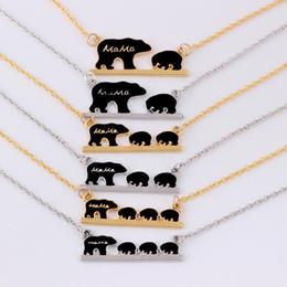 mãe criança pingentes Desconto Mama urso tag colar gravado animal colar pingente simples moda mãe e crianças jóias mãe crianças amor colar