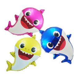 Aufblasbare haie online-Baby Shark Folie Heliumballons Cartoon Aufblasbare Aluminium Ballon Kinder Kinder Thema Geburtstagsfeier Versorgung Dekoration Geschenk Spielzeug