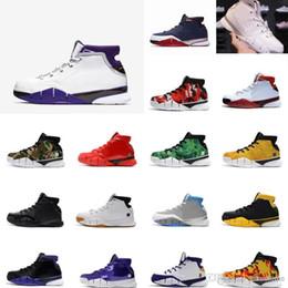 wholesale dealer cf00b 4e528 Günstige Kobe 1 Protro Basketball-Schuhe USA Blau Rot Lila Gelb Weiß Wolf Grau  neue Farben Kinder Generationen hohe Turnschuhe Stiefel mit Box