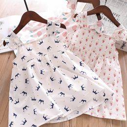 patrones de vuelo Rebajas 2019 Nuevas Niñas vestidos de verano para niños del corazón corona impresa falbala mosca manga manga niños patrón de árbol de manzana vestido de princesa F4396