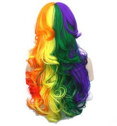 Peruca vermelho amarelo on-line-70 cm de comprimento encaracolado de fibra de alta temperatura cabelo sintético perucas de cosplay vermelho amarelo rosa mulheres partido peruca de cabelo peruca