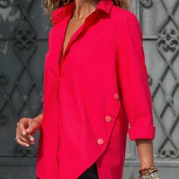 blusa de manga larga blanca formal de dama Rebajas Oficina de mujer Dama Camisa Irregular Top Negro Blanco Rojo Blusa de manga larga para mujer 2019 Camisas de verano Tops Tallas grandes 5xl C19041201