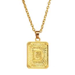 0647e59fc899 5 unids   lote A-Z Cuadrado Inglés Letra Alfabeto Collar de Color Oro  Encanto inicial Cadena Colgante para Hombres Mujeres Joyería Accesorios  Regalos A-449