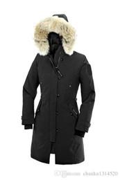 Parka abajo online-Chaqueta de plumón para mujer INVIERNO CAN-Kensington-Pa Cuello Parkas de la marca Real Collar de piel de mapache Abrigos de abrigo de pato blanco CON CAMPANA CON PIEL