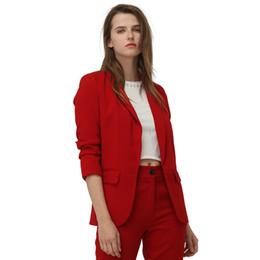 Женщины слоеные пальто онлайн-2019 Весенняя Мода Красный Пиджак Женщины Puff Рукавом Спецодежда Пиджак Пальто Без Кнопки Три Четверти Дамы Верхняя Одежда