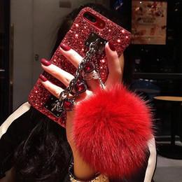 Pulseras para celulares online-iPhonex case phone xs max case diseñador de cajas de teléfonos celulares cáscara de la moda lentejuelas y bola de peluche pulsera decoración 220