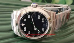 Air king watch online-Mens Luxury BP AIR KING 116900 39 MM Dial Negro Asiático 2813 Movimiento automático Acero inoxidable Zafiro Relojes para hombres Relojes