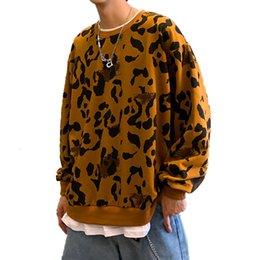 Batom outono on-line-Autumn New Leopard Batom Hoodies Men Moda Casual camisola Falso 2 Piece Hip Hop solto Hoodie Men Harajuku Pullover Top
