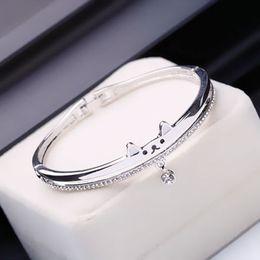 2019 versilbertes kupfergewebe Luxus Sterling Silber Gold Designer Armbänder Liebe Schmuck Armband für Frau Übergroßen Strass Diamanten Armband Armreif Sonderangebot