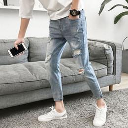 jean moyen délavage hip hop Promotion Denim trou jeans jeans slim pieds adolescents pantalons coréens pantalons coréen de lavage
