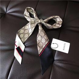 Zwillingsschals online-Designer-Schal Damen schlanke schmale Tasche Griff Seidenschal doppelseitig bedrucktem Twill Satin Marke kleines Band