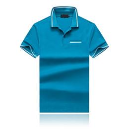poche pour polo homme Promotion 19SS été nouveaux hommes revers revers t-shirt poitrine concepteur de poche polos hommes col à rayures collier pure Cottonmens Designer T-shirts