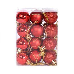 Новогодняя елка красные шары онлайн-Drop Shipping Hot 12Pcs/Lot 4cm Christmas Ball Hanging Tree Ornaments For Party Festival Decorative - Red Mixed Delivery