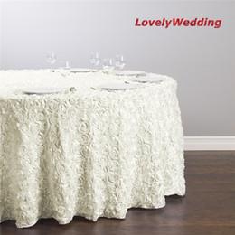 Canada Nappe de broderie de haute qualité luxueux rond rectangulaire fleur rose rose / couverture de table de satin rosette 3D pour la décoration de mariage Offre