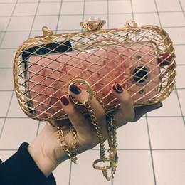 marcas americanas vestidos de noche Rebajas bolso de diseño de moda único de la personalidad jaulas de metal hueco del partido de tarde del embrague bolsa de hombro de las mujeres señoras de bolso de mensajero del bolso