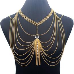 nueva cadena de cuello chica Rebajas Nueva moda Crystal Chest Chain Hanging Neck Underwear Girl Hombro Collar Exotic Bra Chain Strap Slave Slave Body Hoop Jew