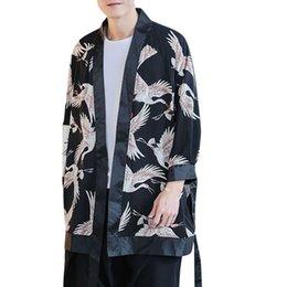 2019 estilo de japão estilo japão Japan Style Para Brasão casaco de lã dos homens no outono e inverno Vermelho-coroado Brasão guindaste Impresso Vintage-Tamanho Grande M-5XL nenhum Hoodie estilo de japão estilo japão barato