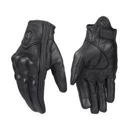 Черные кожаные перчатки велосипеда онлайн-Черный ветрозащитный преследование натуральная кожа перчатки мотоцикла с сенсорным экраном мужчины женщины мотокросс велосипед перчатки мото