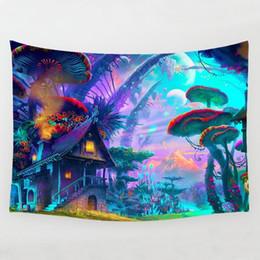 Stampe murali online-Fairytale Mushroom World Tapestry Wall Hanging Stampa artistica Wall Hanging Tapestry Soggiorno Camera da letto Comodino Decorazione Arazzo da parete