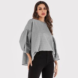 54bbdcd3 New Loose Casual lattice shirt blouse women 2018 Summer O neck puff sleeve  sexy Womens shirts blouse female shirt top #398774
