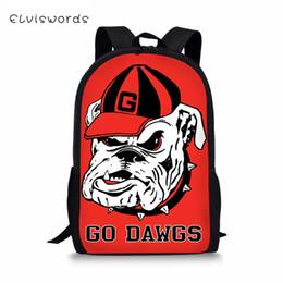 patrones de diseño de mochila Rebajas ELVISWORDS Kids School Bag Cute Bulldogs patrón de impresión mochila de viaje para niños Kawaii Design School Toddler Backpack para niños
