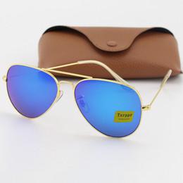 Occhiali da sole di alta qualità per gli uomini online-La migliore qualità Progettista di marca Txrppr Gold Frame Blue Mirror Pilot Occhiali da sole per uomo e donna UV400 Sport Occhiali da sole con scatola