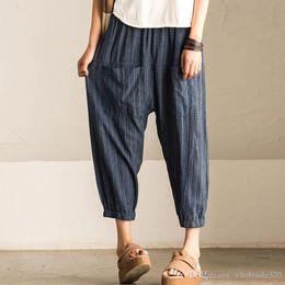 2a99ed94e2d 2018 ZANZEA Women Casual Vintage High Elastic Waist Pockets Striped Baggy  Harem Pants Turnip Trousers Work OL Wide Leg Pantalon