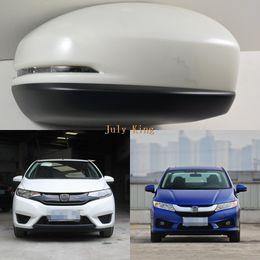 luzes da cidade de honda Desconto Luzes LED Espelho Retrovisor Com Tampa, Amarelo LED Turno Luzes caso para Honda Fit Jazz III Cidade 2014 +, Transporte rápido