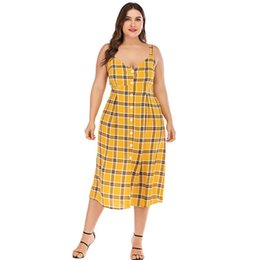 Robe jaune en dentelle midi en Ligne-Vintage Plaid Backless Strap Plus Size Dress D'été Femmes Jaune Robe Jaune Sexy Lace Up Dames Une Ligne Casual Mode Midi Robes