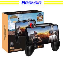 2019 pieles al por mayor xbox Bestsin W11 + Mobile Gamepad juego manija del teléfono móvil carcasa caso gamepad titular joystick disparador de fuego todo en uno para pubg