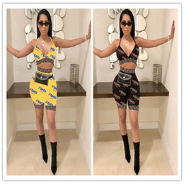 Bras bras quentes on-line-Mulheres Impressão Completa FF Carta Swim Suit 2019 Verão Designer Swimsuit Bra + shorts 2 Pcs Conjuntos Swimwear Marca Tankin Beachwear Pano Quente C6401